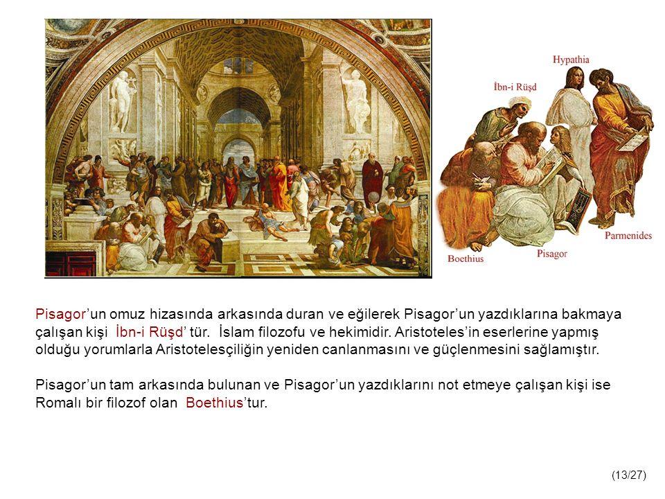 Pisagor'un omuz hizasında arkasında duran ve eğilerek Pisagor'un yazdıklarına bakmaya çalışan kişi İbn-i Rüşd' tür. İslam filozofu ve hekimidir. Aristoteles'in eserlerine yapmış olduğu yorumlarla Aristotelesçiliğin yeniden canlanmasını ve güçlenmesini sağlamıştır.