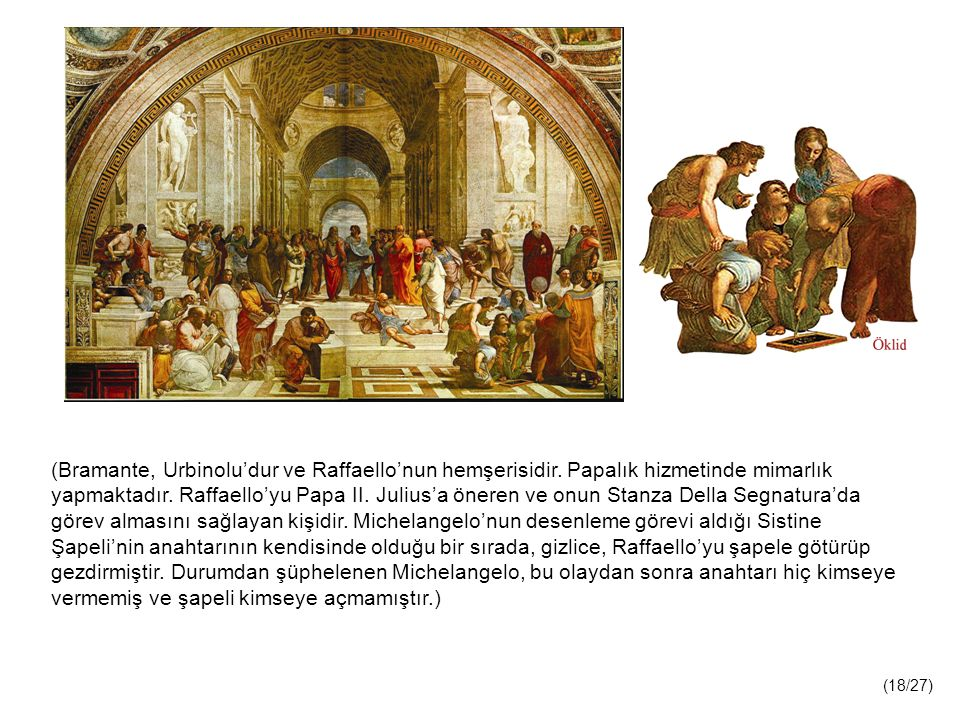 (Bramante, Urbinolu'dur ve Raffaello'nun hemşerisidir
