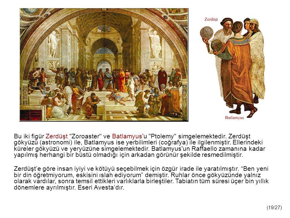 Bu iki figür Zerdüşt Zoroaster ve Batlamyus u Ptolemy simgelemektedir. Zerdüşt gökyüzü (astronomi) ile, Batlamyus ise yerbilimleri (coğrafya) ile ilgilenmiştir. Ellerindeki küreler gökyüzü ve yeryüzüne simgelemektedir. Batlamyus un Raffaello zamanına kadar yapılmış herhangi bir büstü olmadığı için arkadan görünür şekilde resmedilmiştir.