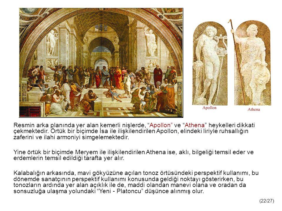 Resmin arka planında yer alan kemerli nişlerde, Apollon ve Athena heykelleri dikkati çekmektedir. Örtük bir biçimde İsa ile ilişkilendirilen Apollon, elindeki liriyle ruhsallığın zaferini ve ilahi armoniyi simgelemektedir.