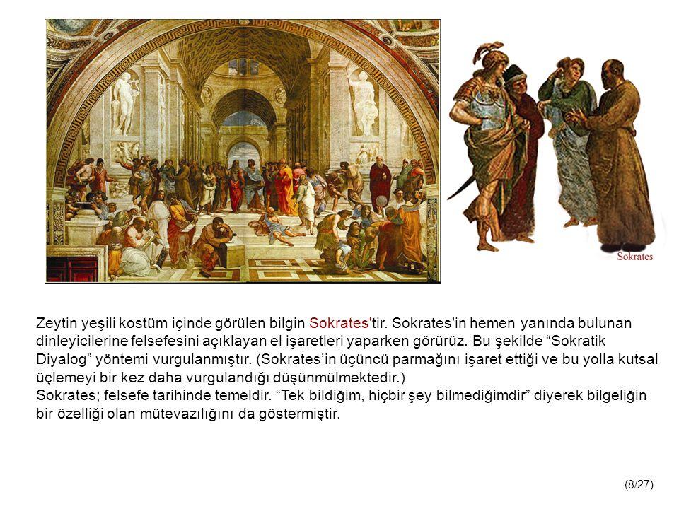 Zeytin yeşili kostüm içinde görülen bilgin Sokrates tir