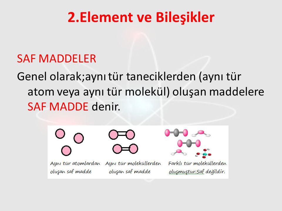 2.Element ve Bileşikler SAF MADDELER Genel olarak;aynı tür taneciklerden (aynı tür atom veya aynı tür molekül) oluşan maddelere SAF MADDE denir.