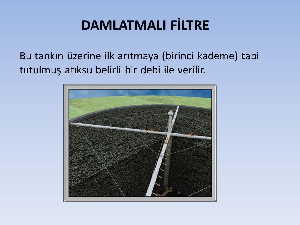 DAMLATMALI FİLTRE Bu tankın üzerine ilk arıtmaya (birinci kademe) tabi tutulmuş atıksu belirli bir debi ile verilir.