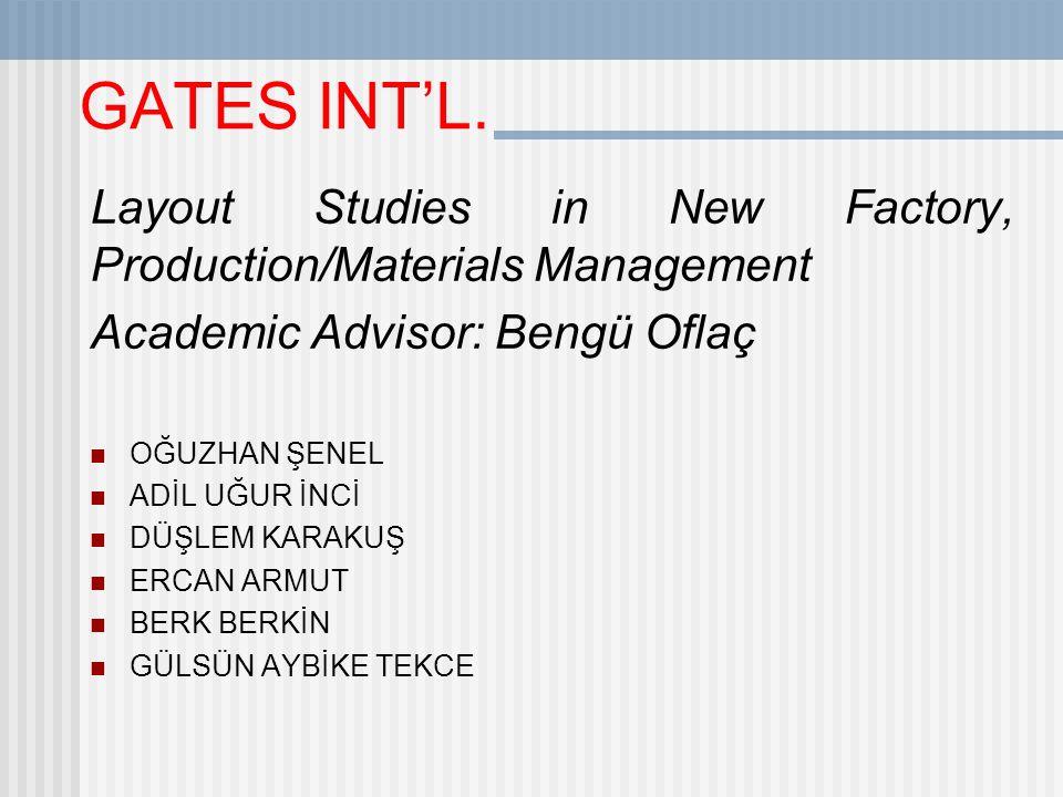 GATES INT'L. Layout Studies in New Factory, Production/Materials Management. Academic Advisor: Bengü Oflaç.
