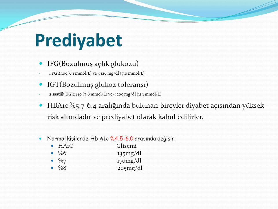 Prediyabet IFG(Bozulmuş açlık glukozu) IGT(Bozulmuş glukoz toleransı)