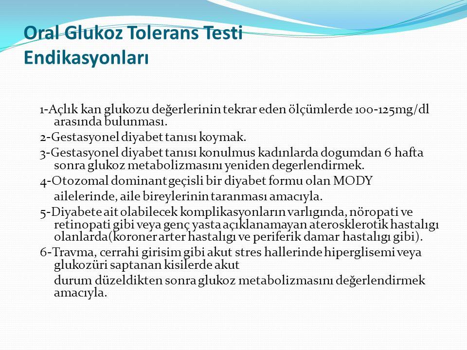 Oral Glukoz Tolerans Testi Endikasyonları