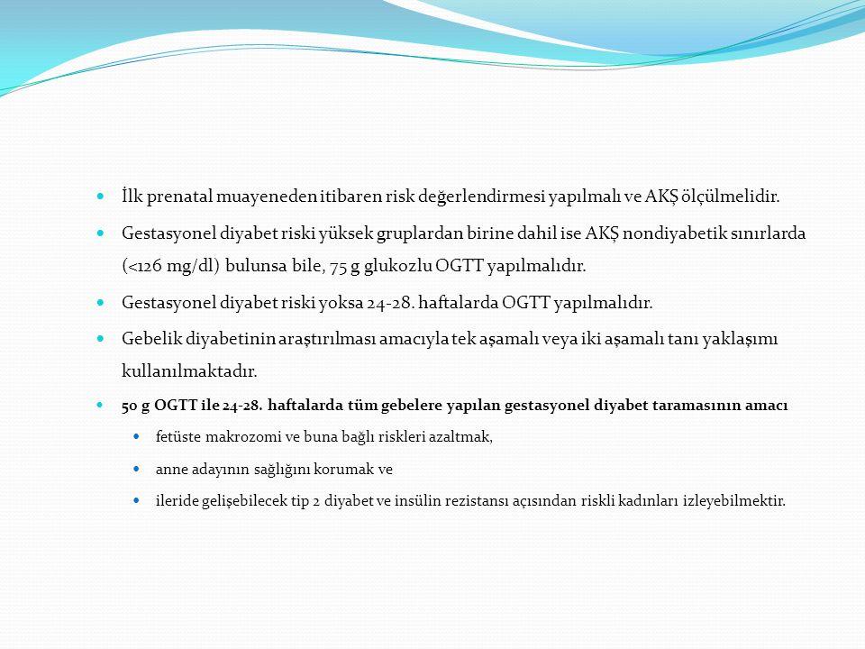 Gestasyonel diyabet riski yoksa 24-28. haftalarda OGTT yapılmalıdır.