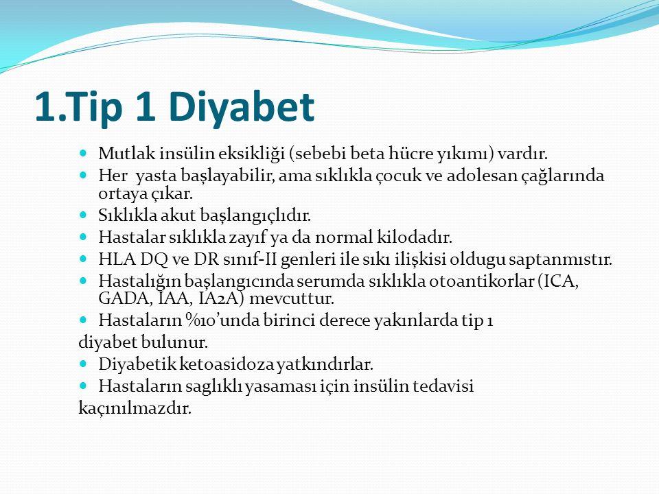 1.Tip 1 Diyabet Mutlak insülin eksikliği (sebebi beta hücre yıkımı) vardır.