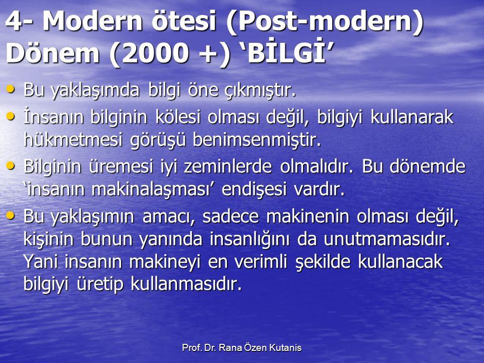 4- Modern ötesi (Post-modern) Dönem (2000 +) 'BİLGİ'