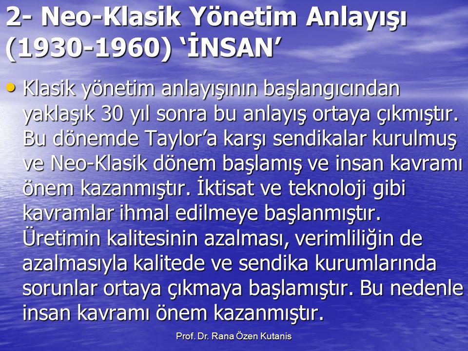 2- Neo-Klasik Yönetim Anlayışı (1930-1960) 'İNSAN'