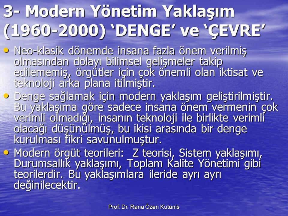 3- Modern Yönetim Yaklaşım (1960-2000) 'DENGE' ve 'ÇEVRE'