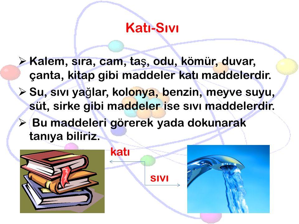 Katı-Sıvı Kalem, sıra, cam, taş, odu, kömür, duvar, çanta, kitap gibi maddeler katı maddelerdir.