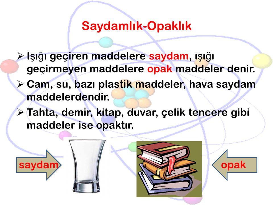 Saydamlık-Opaklık Işığı geçiren maddelere saydam, ışığı geçirmeyen maddelere opak maddeler denir.