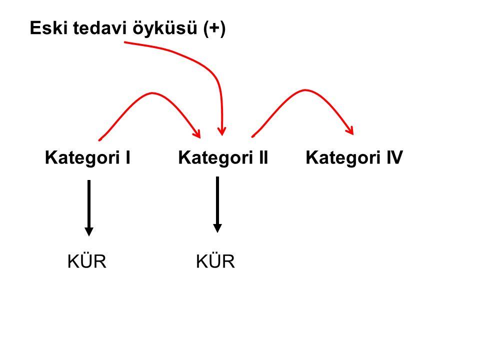 Eski tedavi öyküsü (+) Kategori I Kategori II Kategori IV KÜR KÜR