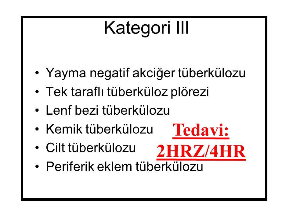 Kategori III Tedavi: 2HRZ/4HR Yayma negatif akciğer tüberkülozu