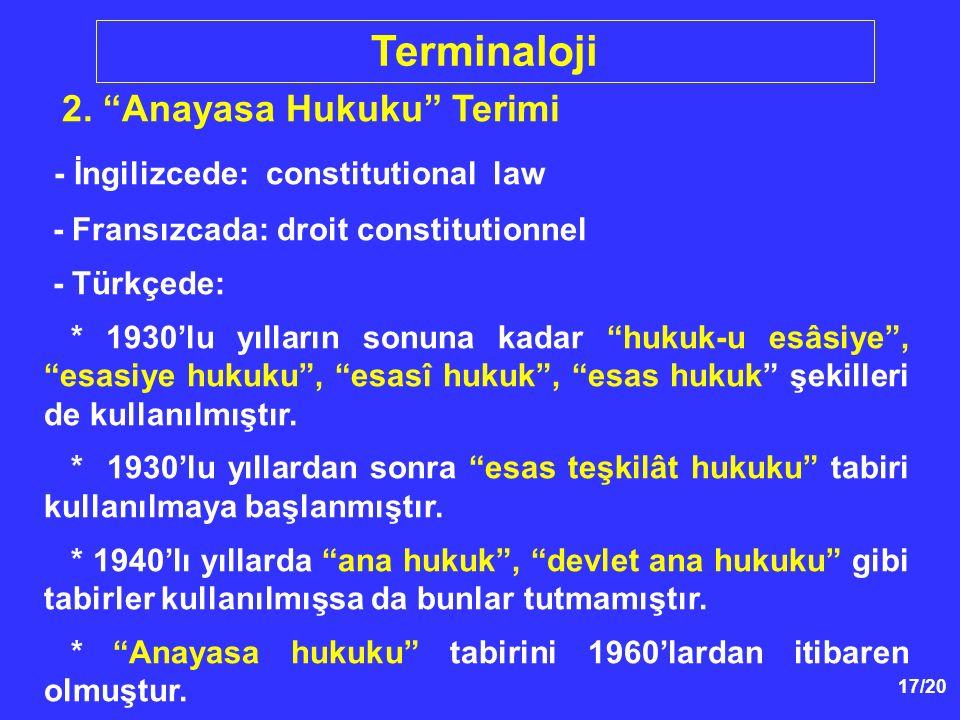 Terminaloji - İngilizcede: constitutional law