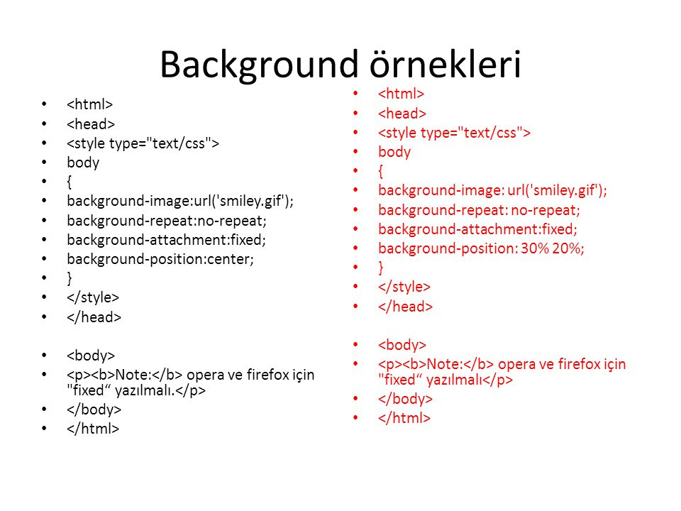 Background örnekleri <html> <head> <html>