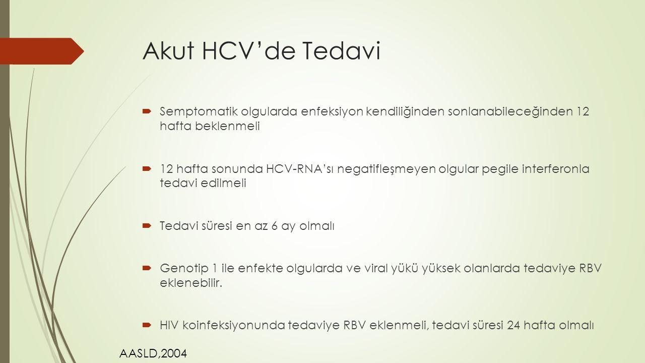 Akut HCV'de Tedavi Semptomatik olgularda enfeksiyon kendiliğinden sonlanabileceğinden 12 hafta beklenmeli.