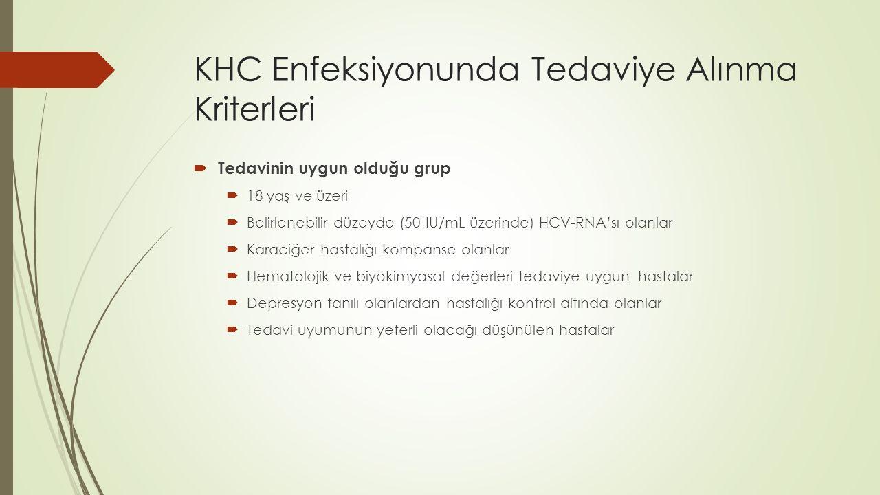 KHC Enfeksiyonunda Tedaviye Alınma Kriterleri