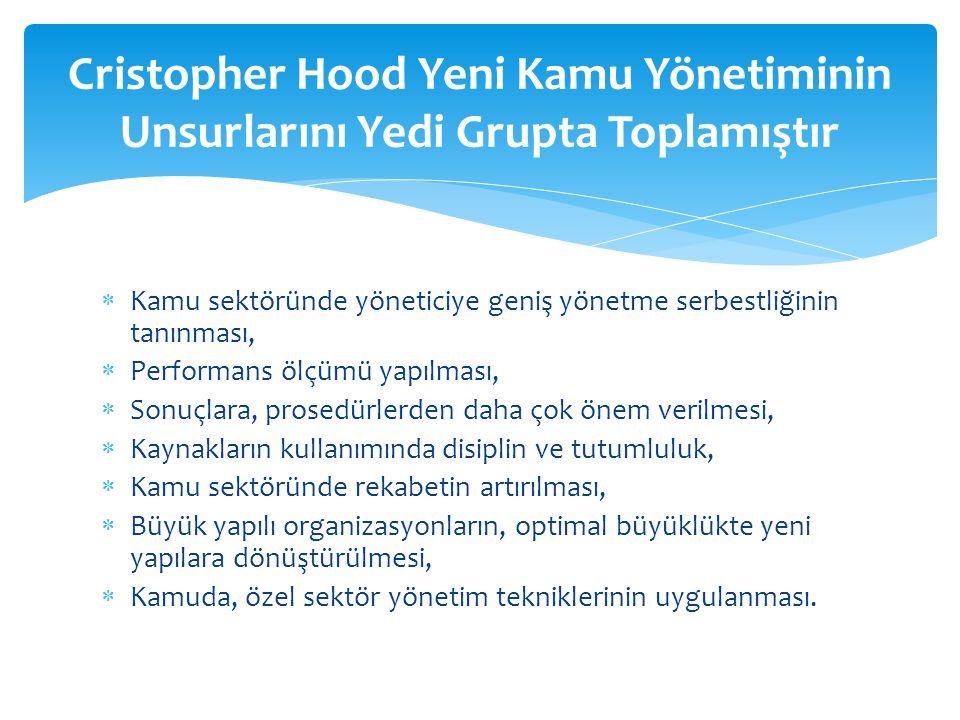 Cristopher Hood Yeni Kamu Yönetiminin Unsurlarını Yedi Grupta Toplamıştır