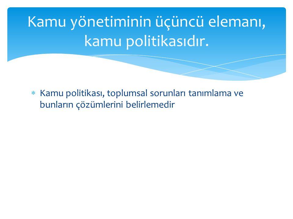 Kamu yönetiminin üçüncü elemanı, kamu politikasıdır.