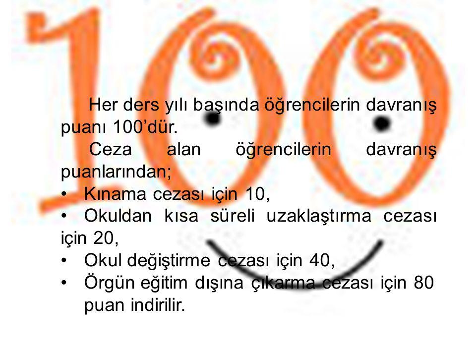 Ceza alan öğrencilerin davranış puanlarından; Kınama cezası için 10,