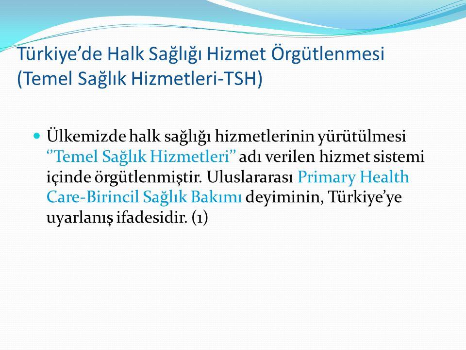 Türkiye'de Halk Sağlığı Hizmet Örgütlenmesi (Temel Sağlık Hizmetleri-TSH)