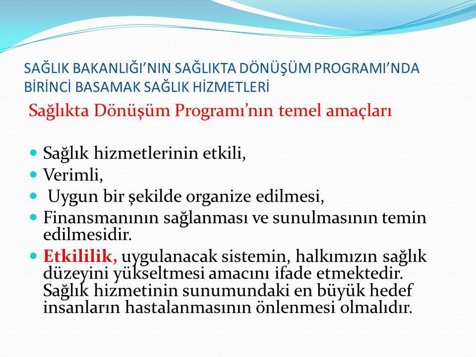 Sağlıkta Dönüşüm Programı'nın temel amaçları