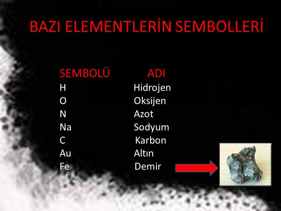 BAZI ELEMENTLERİN SEMBOLLERİ