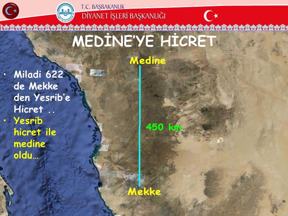 MEDİNE'YE HİCRET Miladi 622 de Mekke den Yesrib'e Hicret ..
