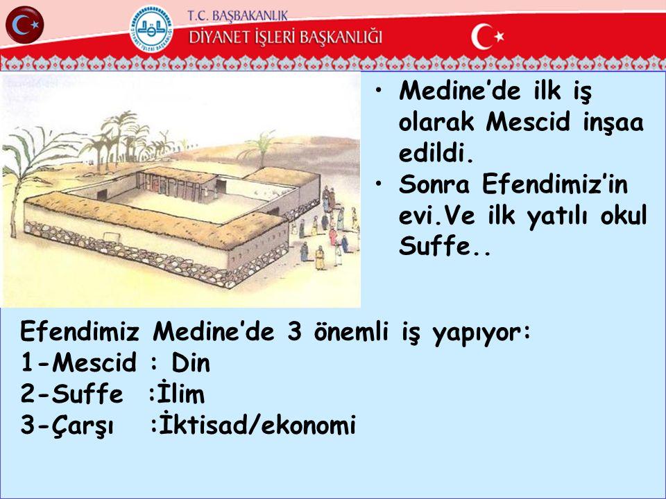 Medine'de ilk iş olarak Mescid inşaa edildi.