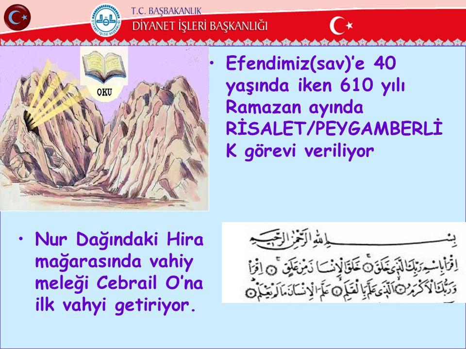 Efendimiz(sav)'e 40 yaşında iken 610 yılı Ramazan ayında RİSALET/PEYGAMBERLİK görevi veriliyor