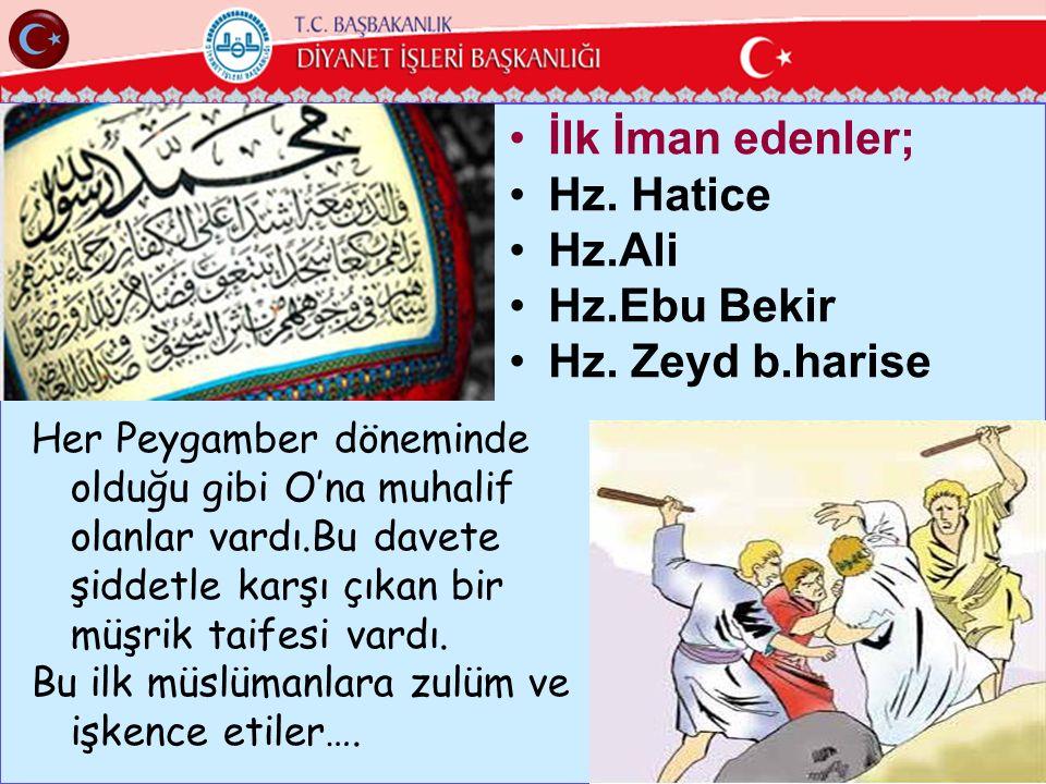 İlk İman edenler; Hz. Hatice Hz.Ali Hz.Ebu Bekir Hz. Zeyd b.harise