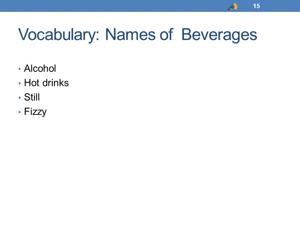 Vocabulary: Names of Beverages