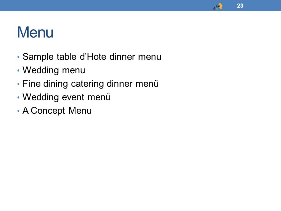 Menu Sample table d'Hote dinner menu Wedding menu