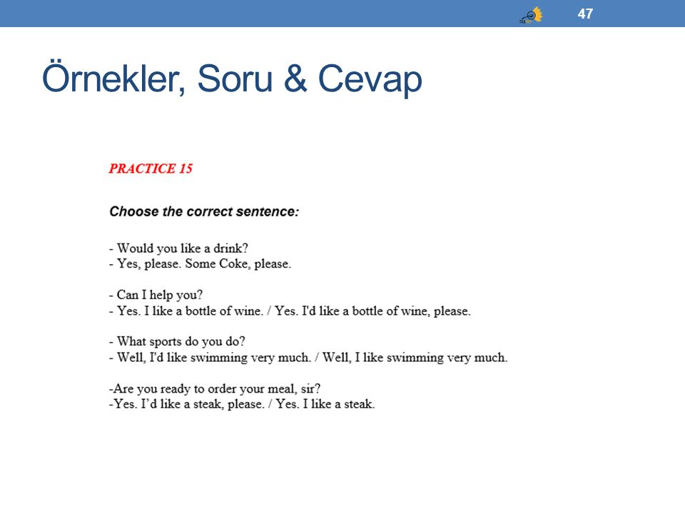 Örnekler, Soru & Cevap