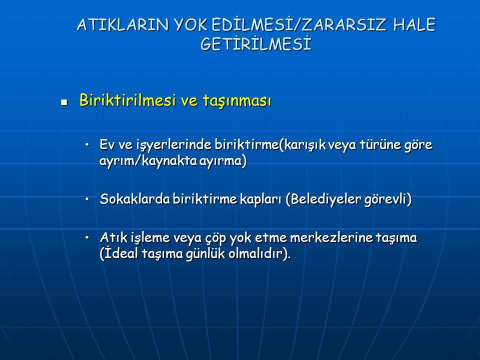 ATIKLARIN YOK EDİLMESİ/ZARARSIZ HALE GETİRİLMESİ