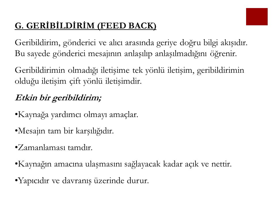 G. GERİBİLDİRİM (FEED BACK)