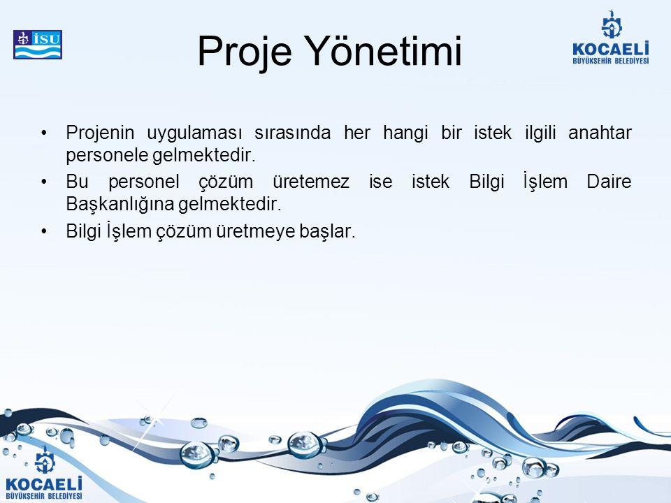 Proje Yönetimi Projenin uygulaması sırasında her hangi bir istek ilgili anahtar personele gelmektedir.