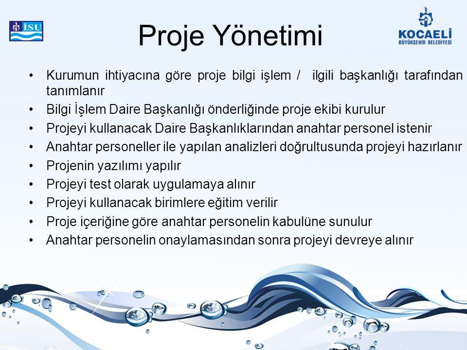 Proje Yönetimi Kurumun ihtiyacına göre proje bilgi işlem / ilgili başkanlığı tarafından tanımlanır.
