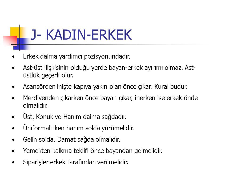 J- KADIN-ERKEK Erkek daima yardımcı pozisyonundadır.