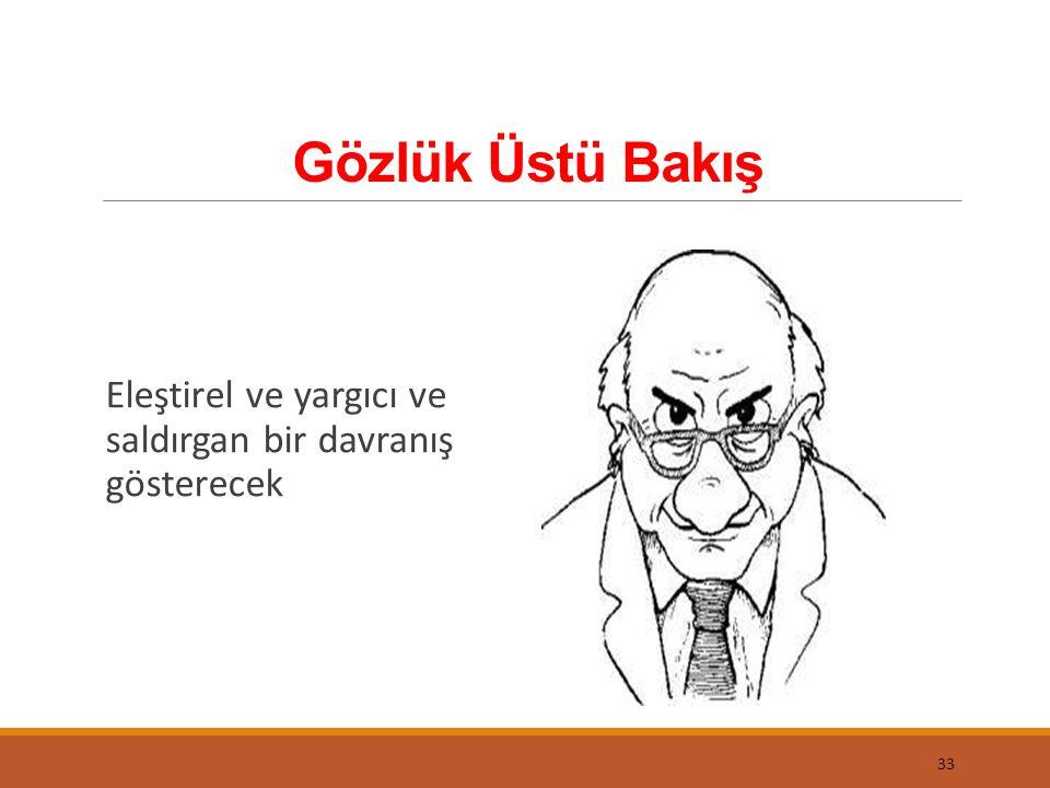 Gözlük Üstü Bakış Eleştirel ve yargıcı ve saldırgan bir davranış gösterecek