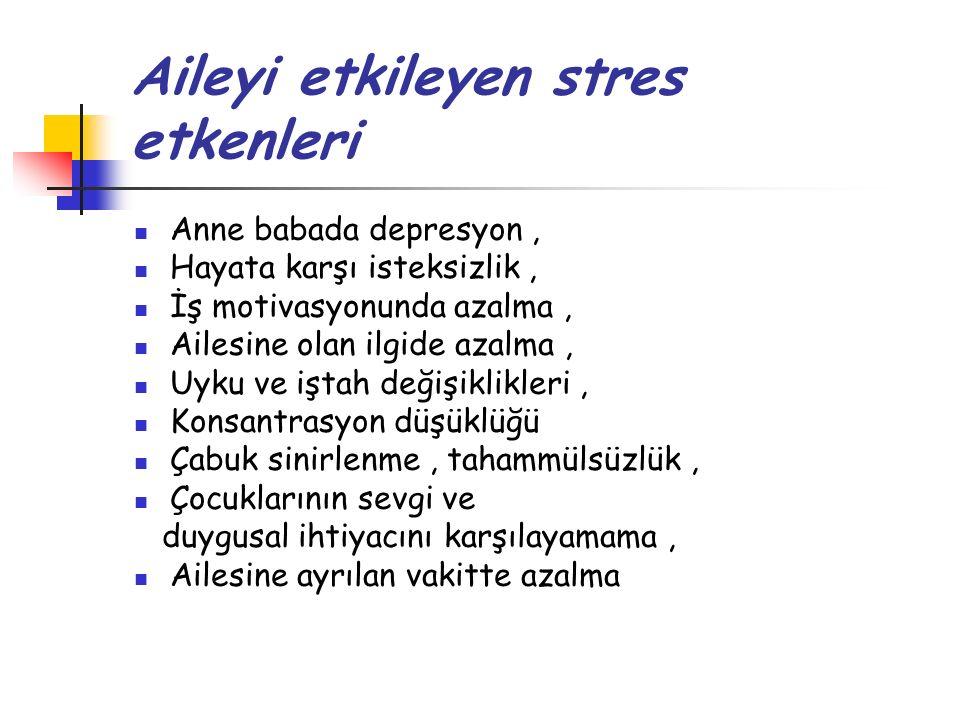 Aileyi etkileyen stres etkenleri