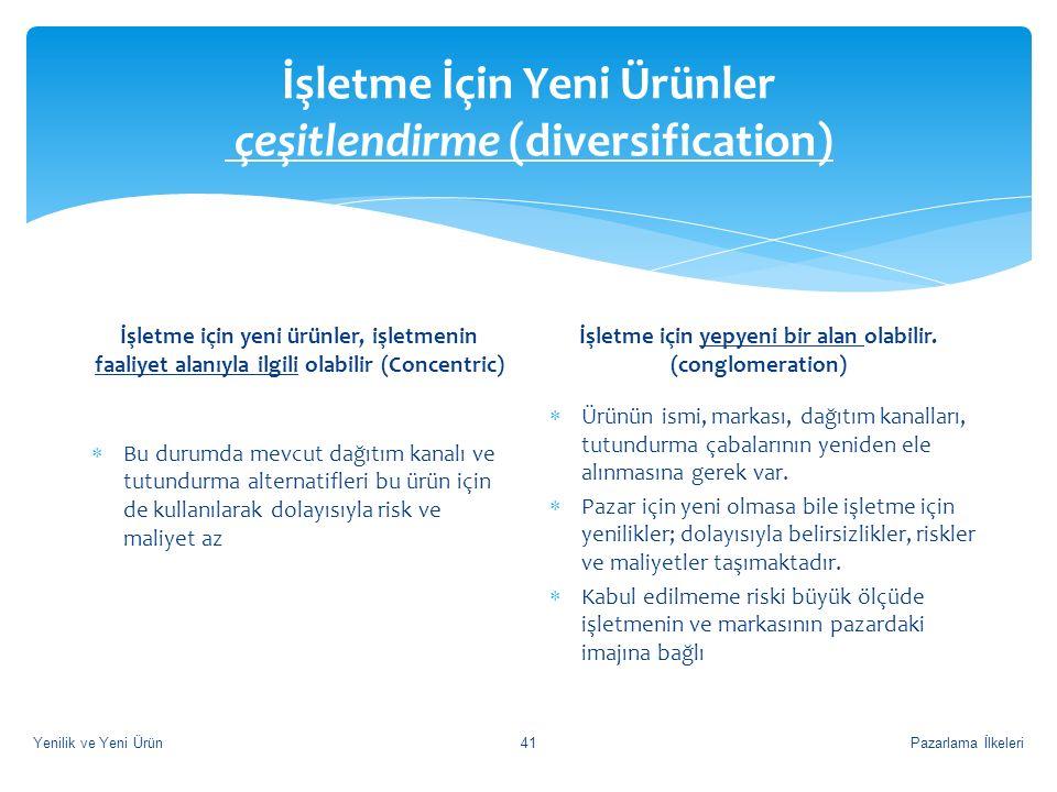 İşletme İçin Yeni Ürünler çeşitlendirme (diversification)