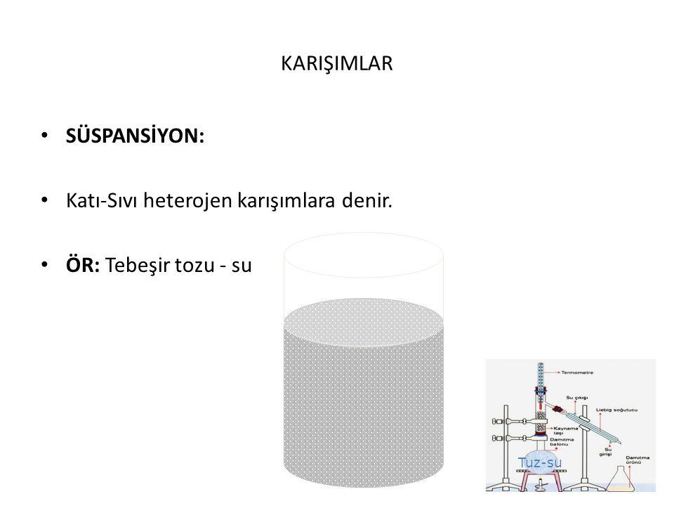 KARIŞIMLAR SÜSPANSİYON: Katı-Sıvı heterojen karışımlara denir. ÖR: Tebeşir tozu - su