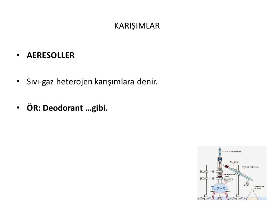 KARIŞIMLAR AERESOLLER Sıvı-gaz heterojen karışımlara denir. ÖR: Deodorant …gibi.