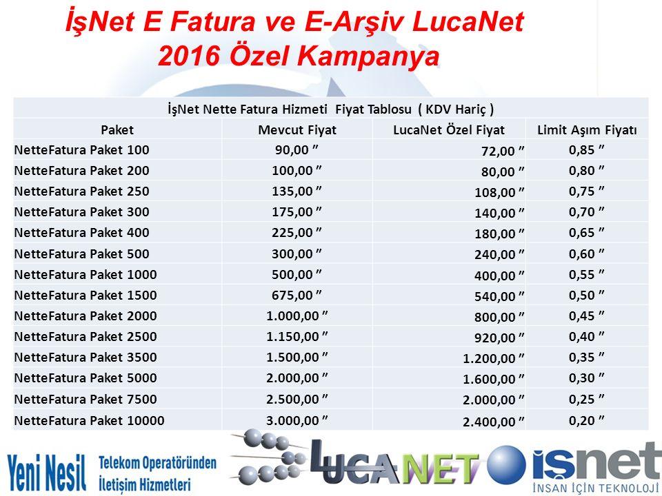 İşNet E Fatura ve E-Arşiv LucaNet 2016 Özel Kampanya