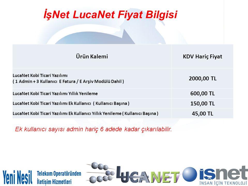 İşNet LucaNet Fiyat Bilgisi