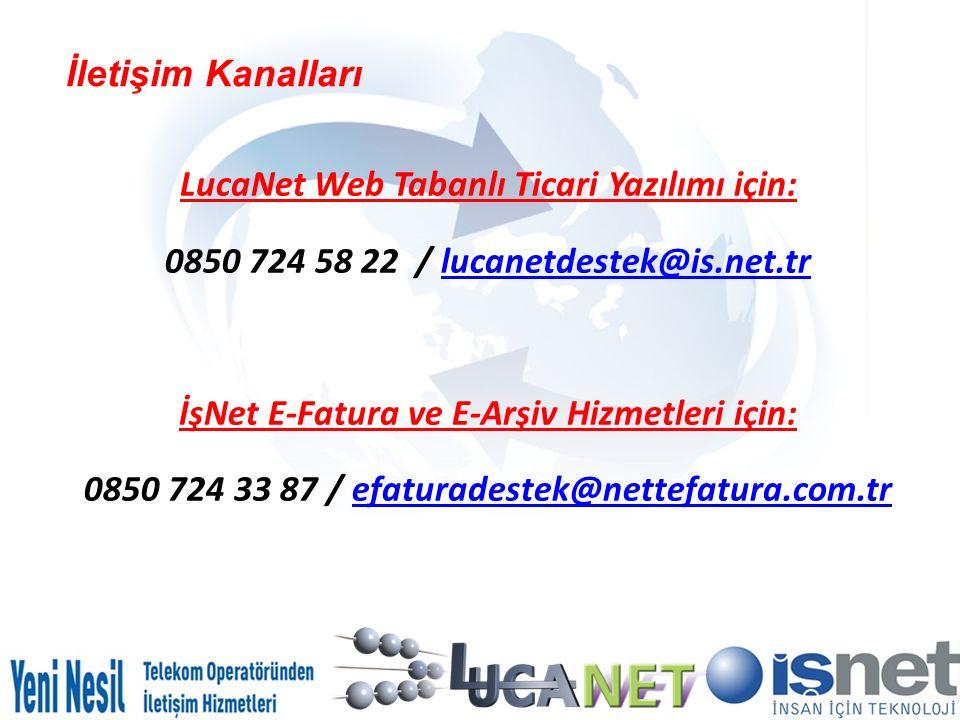 LucaNet Web Tabanlı Ticari Yazılımı için:
