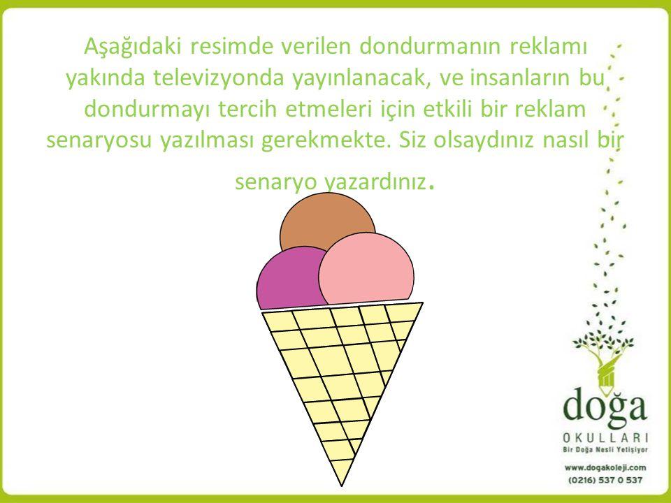 Aşağıdaki resimde verilen dondurmanın reklamı yakında televizyonda yayınlanacak, ve insanların bu dondurmayı tercih etmeleri için etkili bir reklam senaryosu yazılması gerekmekte.